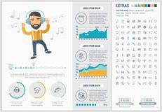 Шаблон Infographic дизайна музыки плоский Стоковые Фотографии RF