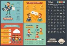 Шаблон Infographic дизайна социальных средств массовой информации плоский Стоковая Фотография RF