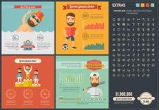 Шаблон Infographic дизайна спорт плоский Стоковая Фотография