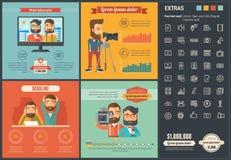 Шаблон Infographic дизайна средств массовой информации плоский Стоковые Изображения