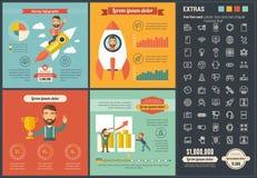 Шаблон Infographic дизайна технологии плоский Стоковое Изображение