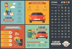 Шаблон Infographic дизайна транспорта плоский Стоковые Фотографии RF