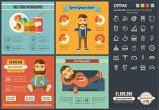 Шаблон Infographic дизайна фаст-фуда плоский Стоковые Изображения RF
