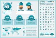 Шаблон Infographic дизайна Constraction плоский иллюстрация штока