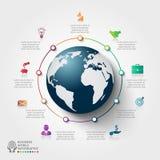 Шаблон infographics вектора глобальный для 9 вариантов иллюстрация вектора