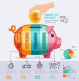 Шаблон Infographics ежемесячного отчета сбережений денег Стоковое Изображение