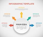 Шаблон Infographics с стрелками и кругом 3D иллюстрация вектора