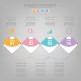 Шаблон Infographics 4 шагов на квадраты Стоковые Фотографии RF