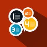 4 шага завертывают план в бумагу Infographic круга вектора Стоковое фото RF