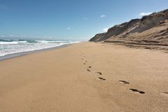 Шаги в песке вдоль удаленного австралийского пляжа с большим s Стоковые Фото