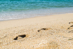 Шаги на песке приставают к берегу, море на предпосылке Стоковые Фото