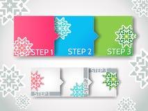 Шаги прогресса зимы вектора/установленные стикеры стрелки Бесплатная Иллюстрация