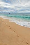 шаги следов ноги влияния пляжа красивейшие струились тропки показа песка песочные windblown Стоковое фото RF