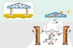 Шаги установкой здания склада структуры, концепцией шага сыгранности для точных и успешных целей, illustrati вектора Стоковые Изображения
