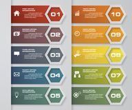 10 шагов завертывают элемент в бумагу infographics платы План графика или вебсайта вектор Стоковая Фотография