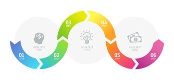 6 шагов Infographics, успех в бизнесе Стоковые Фото