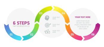 6 шагов Infographics, успех в бизнесе Стоковые Изображения