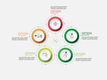 Шаг бумаги круга Информаци-графика вектора Стоковая Фотография