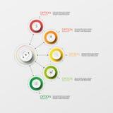 Шаг бумаги круга Информаци-графика вектора Стоковые Изображения RF