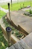 Шаг коричневых каменных лестниц с зеленым растением около пути прогулки Стоковая Фотография