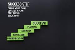 Шаг лестницы к успеху принципиальная схема дела успешная деревянный шаг с космосом текста и экземпляра Стоковое Изображение