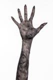 Шайка бандитов смерти, идти смертельно, тема зомби, тема хеллоуина, руки зомби, белая предпосылка, руки мумии Стоковое Изображение RF
