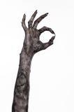 Шайка бандитов смерти, идти смертельно, тема зомби, тема хеллоуина, руки зомби, белая предпосылка, руки мумии Стоковые Фотографии RF