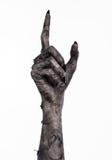 Шайка бандитов смерти, идти смертельно, тема зомби, тема хеллоуина, руки зомби, белая предпосылка, руки мумии Стоковые Изображения
