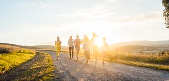 Шаловливая семья бежать и играя на пути в ландшафте лета стоковая фотография rf