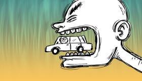 Шальной человек жуя автомобиль иллюстрация вектора