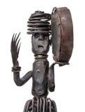 Шаман с тамбурин, figurine танцев африканца железный Стоковые Изображения