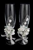 шампанское украсило декоративные стекла цветка wedding Стоковое Изображение