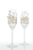 шампанское украсило декоративные стекла цветка wedding Стоковые Изображения