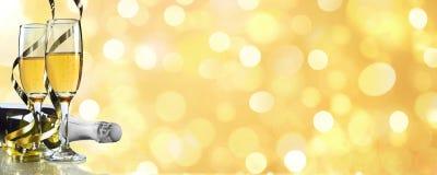 Шампань, знамя Нового Года Стоковые Изображения
