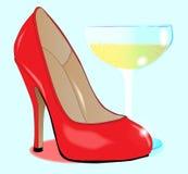 Шампань и ботинок дам иллюстрация штока