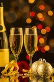 Шампань и роза красного цвета Стоковое Изображение RF