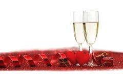 Шампань и сердца Стоковое Фото