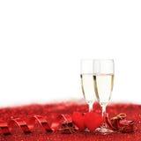 Шампань и сердца Стоковые Изображения