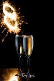 Шампань и фейерверки Стоковая Фотография RF
