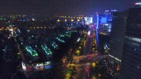 ШАНХАЙ, КИТАЙ - видео трутня 5-ое мая 2017 воздушное, nighttime осветило известный городской пейзаж Пудуна видеоматериал