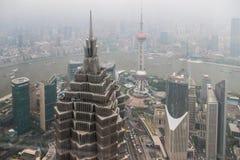 Шанхай, надземная съемка, город Стоковые Изображения