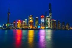Шанхай на ноче, Китай стоковое фото rf
