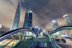 Шанхай Пудун, ноча города стоковое изображение rf