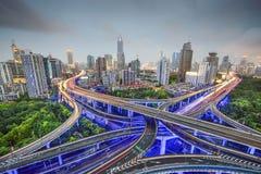 Шанхай, шоссе Китая и городской пейзаж Стоковые Фотографии RF