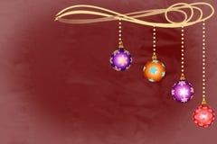 4 шара орнамента рождества с снежинками Стоковые Фотографии RF