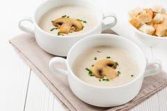 2 шара супа сливк гриба Стоковая Фотография