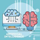Шаржи концепции искусственного интеллекта бесплатная иллюстрация