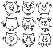 Шаржи свиней вектора Стоковые Фото