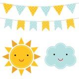 Шаржи Солнця и облака иллюстрация вектора
