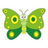 шарж бабочки милый Иллюстрация вектора изолированная на белом ба стоковое изображение